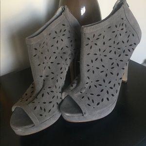 Gray Peep Toe Heels